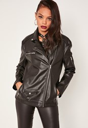 Missguided Boyfriend Faux Leather Biker Jacket Black