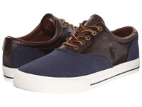 Polo Ralph Lauren Vaughn Saddle Indigo Blue Polo Tan Flax Linen Smooth Oil Leather Men's Lace Up Casual Shoes