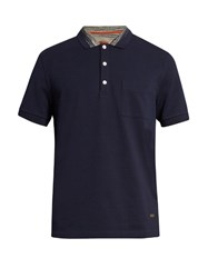 Missoni Patch Pocket Short Sleeved Polo Shirt Navy Multi