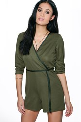 Boohoo Leather Look Trim Wrap Belted Playsuit Khaki