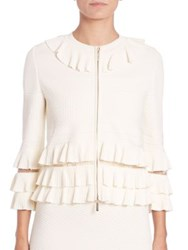 Elie Saab Ruffled Knit Jacket White