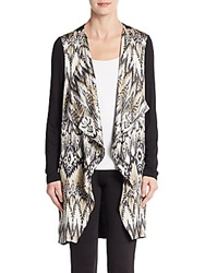 Saks Fifth Avenue Black Abstract Print Drape Front Cardigan Grey Black