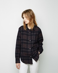 Isabel Marant Kenzie Wooly Check Shirt Midnight