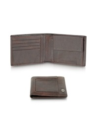 Piquadro Vibe Leather Coin Pocket Billfold Dark Brown