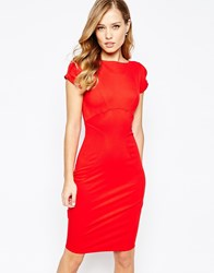 Closet Pencil Dress With Ruched Cap Sleeve Red