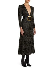 Saint Laurent Lace Deep V Neck Dress Black Gold
