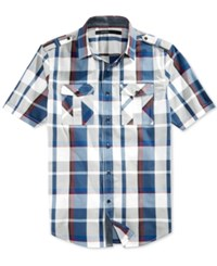 Sean John Men's Plaid Epaulette Short Sleeve Shirt Cream