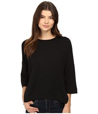 Heather French Terry Wedge Pullover Black Women's Clothing