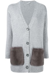 Agnona Contrast Pocket Cardigan Grey