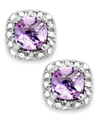 Victoria Townsend Sterling Silver Earrings Amethyst 1 1 5 Ct. T.W. And Diamond Accent Cushion Cut Stud Earrings