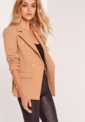 Missguided Military Style Blazer Nude Brown