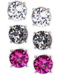 Nine West Silver Tone Colorful Trio Stud Earring Set Multicolor