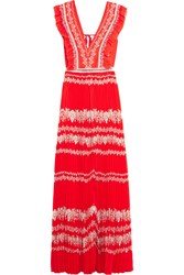 Self Portrait Ruffled Printed Plisse Georgette Maxi Dress Red