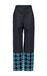 Holly Fulton High Waisted Trousers With Printed Hem Blue