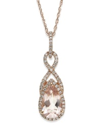 Macy's Morganite 1 1 10 Ct. T.W. And Diamond 1 5 Ct. T.W. Drop Pendant Necklace In 14K Rose Gold Pink