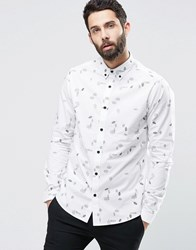 Only And Sons Shirt With All Over Feather Print White