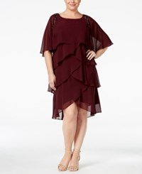 Si Fashions Sl Plus Size Embellished Tiered Capelet Dress Fig