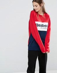 Reebok Classics Panel Logo Oversized Sweatshirt In Red And Navy Red