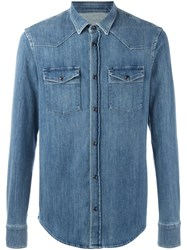 Dondup Denim Button Down Shirt Blue