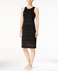Armani Exchange Sleeveless Perforated Dress Solid Black