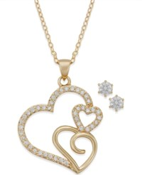 City By City Gold Tone Crystal Triple Heart Pendant Necklace And Stud Earrings Set