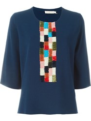 Tory Burch Woven Detail Knit Top Blue