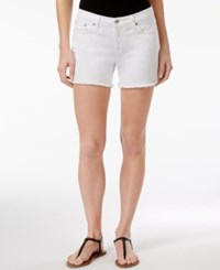 Big Star Alex Frayed Hem Denim Shorts White