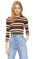 Apiece Apart Zia Fine Rib Pullover Nightlights Stripe