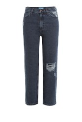 Mih Jeans Straight Leg Cropped Blue