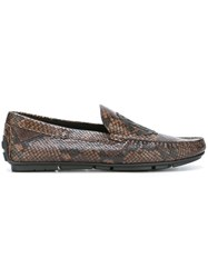 Roberto Cavalli Snakeskin Effect Loafers Brown