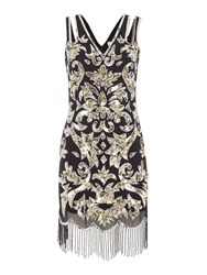 Frock And Frill Alessa Sleeveless All Over Sequin Flapper Dress Black
