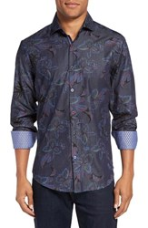 Stone Rose Men's Trim Fit Floral Print Chambray Sport Shirt