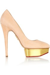 Charlotte Olympia Cindy Suede Platform Pumps Pink