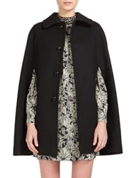 Saint Laurent Wool Cape Coat Nero