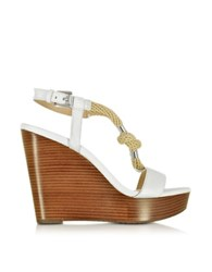 Michael Kors Holly Rope And Optic White Leather Wedge Sandal