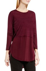 Vince Camuto Women's Two By Mixed Media Crewneck Tunic Raisin