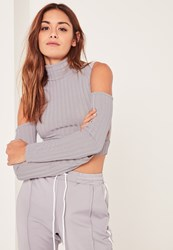 Missguided Grey Jumbo Ribbed Cut Out Detail Sleeve Crop Top
