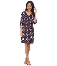 Hatley Peplum Sleeve Dress Ropes Anchors Women's Dress Purple