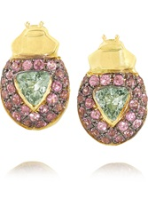 Ma'at 18 Karat Gold Sapphire And Rhodolite Earrings