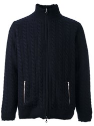 N.Peal Lined Cable Cardigan Blue