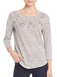 Rebecca Taylor Embroidered Linen Tee Grey