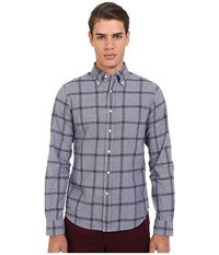 Gant R. Melange Dobby Hugger Fit Oxford Button Down Persian Blue Men's Long Sleeve Button Up