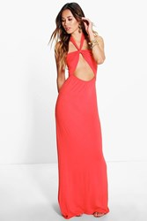 Boohoo Bandeau Bow Front Maxi Dress Orange