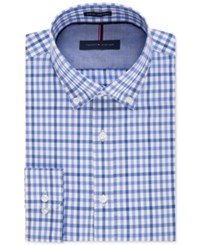 Tommy Hilfiger Men's Slim Fit Non Iron English Blue Check Dress Shirt