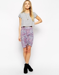By Zoe By Zoe Drawstring Ruched Front Mini Skirt Rose