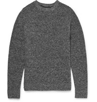Folk Ribbed Wool Blend Sweater Gray