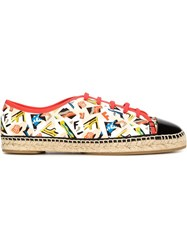 Fendi Archive Print Espadrille Sneakers Red