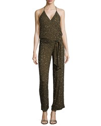 Haute Hippie Sequined Halter Jumpsuit Military