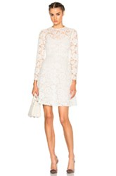 Valentino Long Sleeve Lace Dress In White