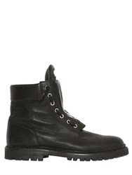 Balmain Zip Up Leather Combat Boots